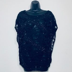 ✨Guess Sequin Beaded Lace Sparkle Blouse Size S